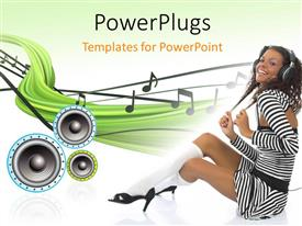 PowerPlugs: PowerPoint template with a girl enjoying music with a number of speakers in background
