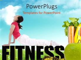 PowerPlugs: PowerPoint template with a girl exercising and vegetables with clouds in the background
