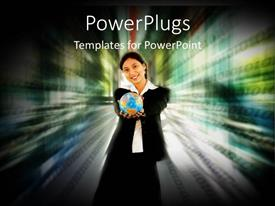 PowerPoint template displaying a girl with a globe and multicolored background