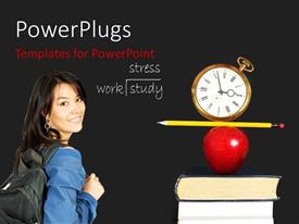 PowerPlugs: PowerPoint template with a girl going to school with grayish background and place for text
