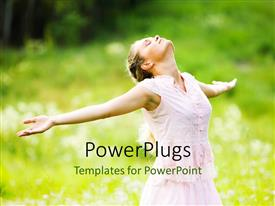 PowerPlugs: PowerPoint template with a girl happy in the filed with greenery in the background