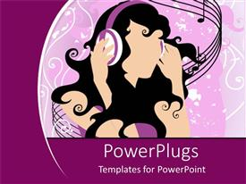PowerPoint template displaying a girl with headphones listening to music