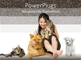 PowerPlugs: PowerPoint template with girl holding cat hugging large dog