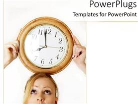 PowerPoint template displaying a girl holding the clock on her head