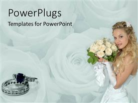 PowerPlugs: PowerPoint template with a girl holding the flower bouqet