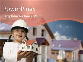 PowerPlugs: PowerPoint template with girl holding house 3d model with house image