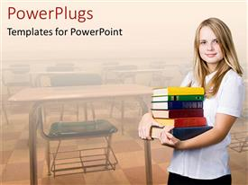 PowerPoint template displaying a girl holding a number of books with classroom in the background