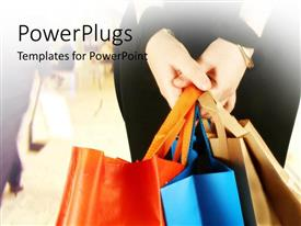 PowerPlugs: PowerPoint template with a girl holding a number of shopping bags with blurred background
