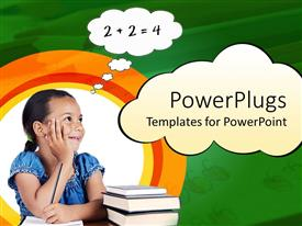 PowerPoint template displaying girl holding pencil on paper with stack of books next to her and thinking bubble containing a math addition exercise