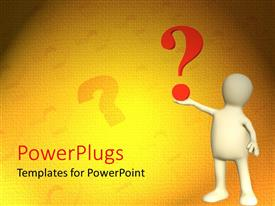 PowerPlugs: PowerPoint template with a girl holding a question mark with yellowish background
