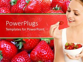 PowerPlugs: PowerPoint template with a girl holding the strawberry with strawberries in the background