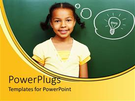 PowerPlugs: PowerPoint template with a girl with an idea along with green background