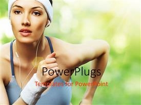 PowerPlugs: PowerPoint template with a girl jogging while listening to music