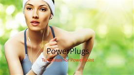 PowerPoint template displaying a girl jogging while listening to music
