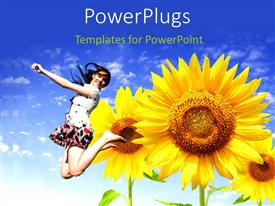PowerPlugs: PowerPoint template with a girl jumping in the air with sunflowers and bluish background