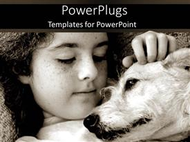 PowerPlugs: PowerPoint template with girl laying with dog in black and white