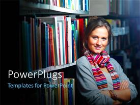 PowerPoint template displaying a girl in the library with blurr background