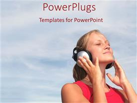 PowerPlugs: PowerPoint template with a girl listening to music with clouds in the background