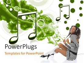 PowerPlugs: PowerPoint template with a girl listening to music and enjoying herself