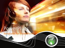 PowerPlugs: PowerPoint template with a girl listening to music and fast traffic in background