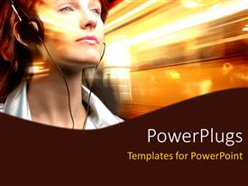 PowerPlugs: PowerPoint template with a girl listening to music with golden background
