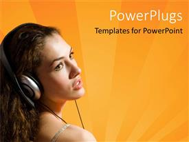 PowerPlugs: PowerPoint template with a girl listening to music with orange background and place for text