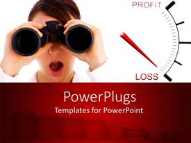 PowerPlugs: PowerPoint template with a girl looking through binoculars with white background