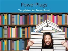 PowerPlugs: PowerPoint template with a girl with a lot of books and library in background