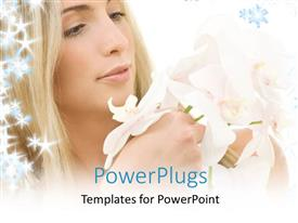 PowerPoint template displaying a girl with a lot of flowers in her hands