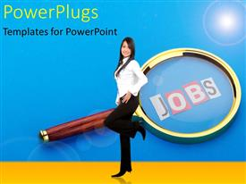 PowerPlugs: PowerPoint template with a girl with a magnifying glass in the background