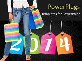 PowerPlugs: PowerPoint template with a girl with the new year in the background