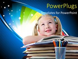 PowerPlugs: PowerPoint template with a girl with a number of books and colorful background