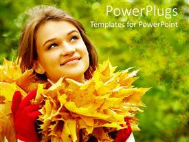 PowerPoint template displaying a girl with a number of leaves and greenish background