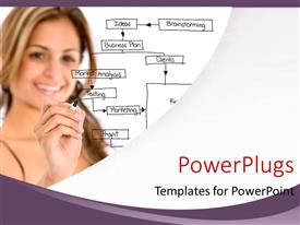 PowerPlugs: PowerPoint template with a girl with a number of writings on the glass