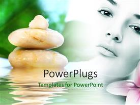PowerPlugs: PowerPoint template with a girl with a number of zen stones and water