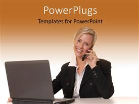 PowerPlugs: PowerPoint template with a girl on the phone with a laptop