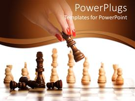PowerPlugs: PowerPoint template with a girl playing the chess with white background