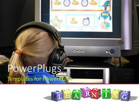 PowerPlugs: PowerPoint template with a girl playing games on the computer