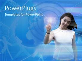 PowerPlugs: PowerPoint template with a girl poking a point with bluish background