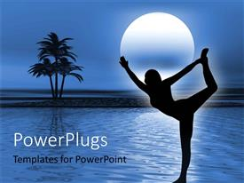 PowerPlugs: PowerPoint template with a girl practising a dance move with moon in background