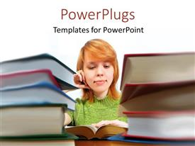 PowerPlugs: PowerPoint template with a girl reading a book with a white background