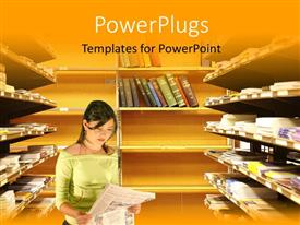 PowerPlugs: PowerPoint template with a girl reading newspaper in the library with books in background