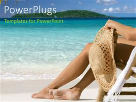 PowerPoint template displaying a girl relaxing on the beach with sea in the background