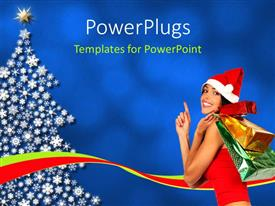 PowerPoint template displaying a girl representing the Chrsitmas with a Christmas tree