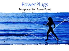 PowerPoint template displaying a girl running on the beach
