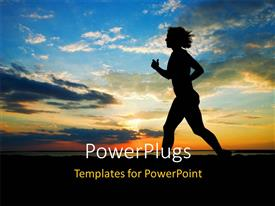 PowerPlugs: PowerPoint template with a girl running on the beach with clouds in the background