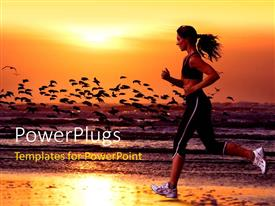 PowerPlugs: PowerPoint template with a girl running on the beach with sea in the background