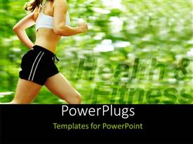 PowerPlugs: PowerPoint template with a girl running in the forest with greenry in background