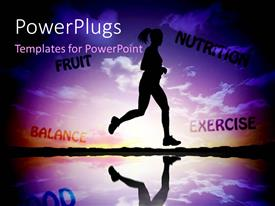 PowerPlugs: PowerPoint template with a girl running across a lake with her shadow in water
