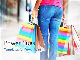 PowerPlugs: PowerPoint template with a girl after shopping with colorful handbags